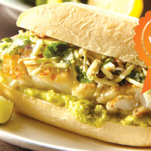 Baja Fish Taco Tortas with Smoky Cilantro Slaw