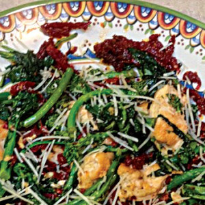 Chicken Breast with Sun Dried Tomatoes and Rapini