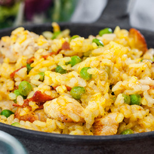 15 - minute peas and chicken risotto